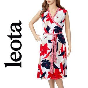 Leota Nautique Floral Red Sleeveless Dress